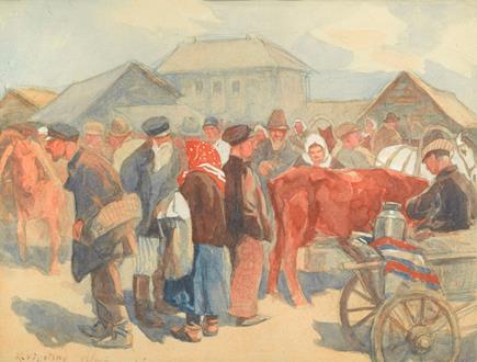 Konstantin Semeonovich  Visotsky  A Crowded Market Scene, Viļāni, Latvia