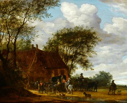 Salomon van Ruysdael  A Wooded Landscape with Travellers by an Inn
