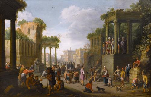 Joost Cornelisz Droochsloot Architectural Ruin with a Crowd