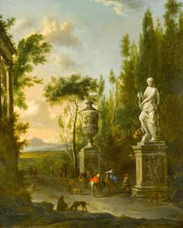 Frederik de Moucheron A Hawking Party at the Foot of an Ornamental Staircase, with a Mountainous Landscape beyond
