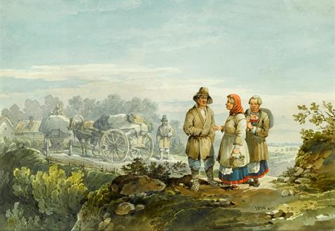 Karl Ivanovich Kollmann Peasants on a Cliff Path & Peasants on a Sleigh
