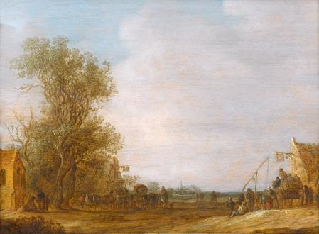 Jan van Goyen A Wooded Landscape with Travellers by the Swan Inn and at another Inn Opposite