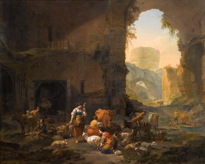 Nicholaes Berchem  Milkmaids and Shepherds with their Flock at the Mouth of a Grotto, a Drover Watering his Cattle Beyond