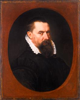 Adriaen Thomasz.  Key Portrait of a Bearded Gentleman, Bust-Length, in a Black Doublet with a White Lace Ruff