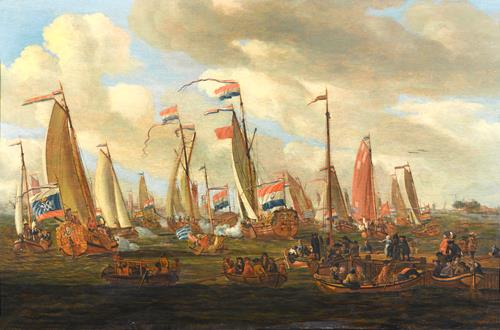 I. de Beer Tsar Peter the Great Viewing the Mock Sea Battle  Held in his Honour in the IJ, off Amsterdam, 1st September 1697