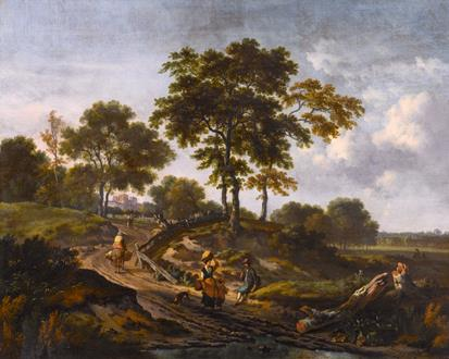 Jan Wijnants A Landscape with Peasants Conversing on a Countryside Path