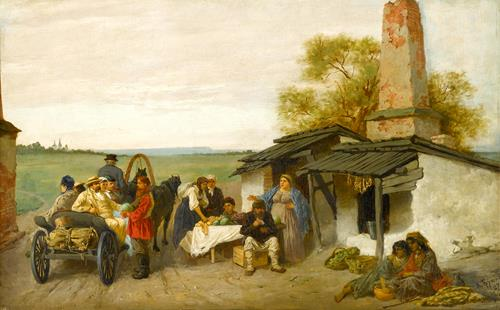 Konstantin Alexandrovich Trutovsky City Travellers Being Offered Fruit at a Ukrainian Roadside Dwelling