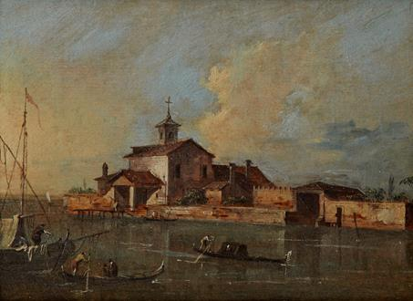 Giacomo Guardi A View of the Venetian Lagoon with the Island of San Giacomo di Paludo
