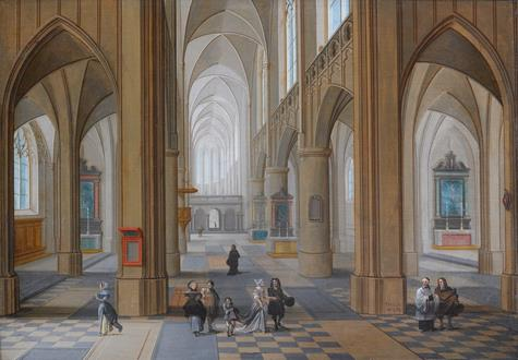 Pieter Neeffs The Elder The Interior of a Gothic Church with Elegant Company