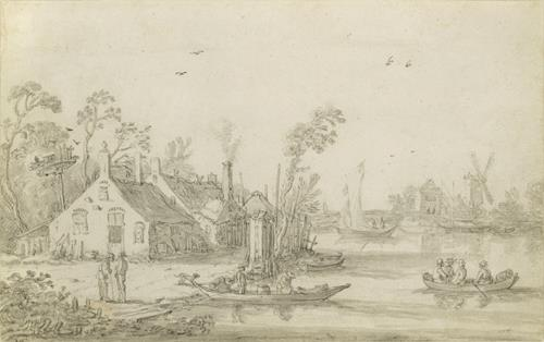Esaias van de Velde  A River Scene with Rowing Boats, Cottages on the Shore and a Windmill in the Distance