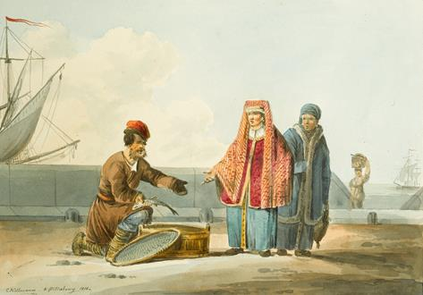 Karl Ivanovich Kollmann A Russian Peasant Selling Fish & A Russian Peasant with a Sledge