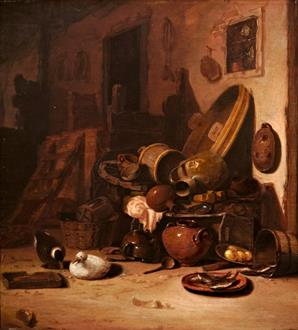 Hendrick  Bogaert  A Still Life of Earthenware Pots, Barrels, Baskets, Jugs,  an Earthenware Plate with Fish together with Ducks in a Barn
