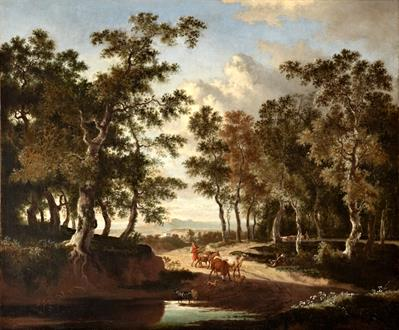 Jan Hackaert A Wooded Landscape with a Shepherd and his Herd on a Path near a Puddle
