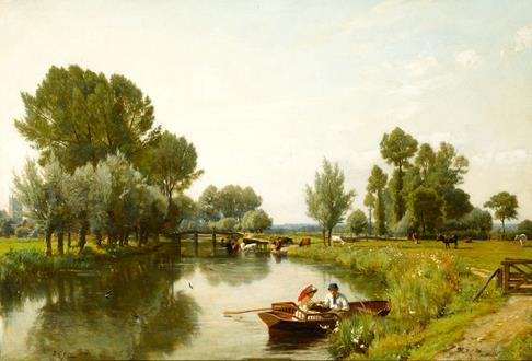 Frederick George Cotman Boating on the Stour at Dedham