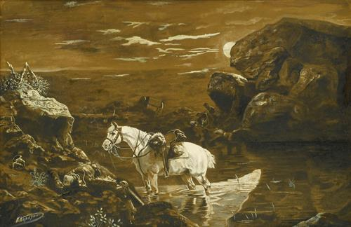 Nikolai Nikolaevich Karazin Horse Watering at the Edge of a Battlefield