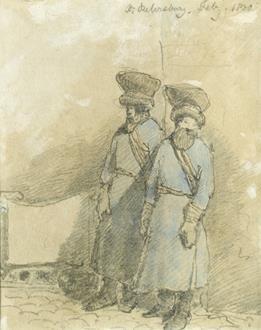 Sir John Crampton Two Cossacks on Guard & Study of a Log Sleigh