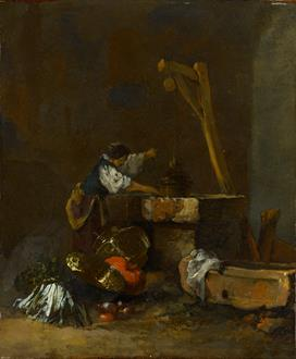 Willem Kalf A Woman Pulling Water from a Well, a Pile of Vegetables at her Feet