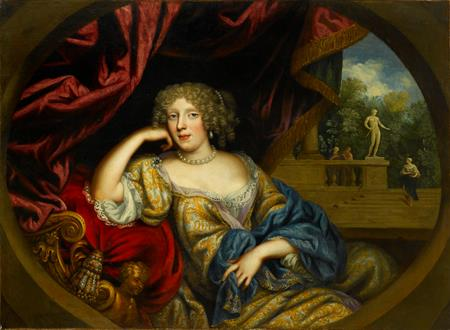 Henri Gascars Portrait of a Lady, Seated Three-Quarter-Length, in a White and Gold Gown with a Blue Robe, a Garden Beyond