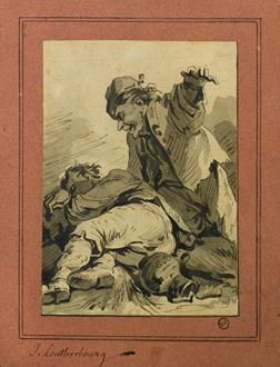 Philipe-Jacques de Loutherbourg, R.A. Two Men, One Sleeping