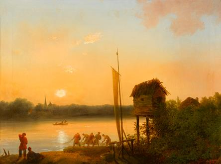 Ivan Andreevich Ivanov Evening Riverscape with Fishermen