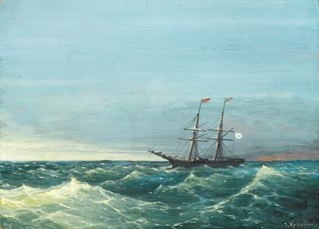 Grigorij Ivanovich Kapustin A Russian Merchant Brig in Rough Seas
