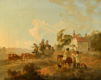 Julius Caesar Ibbetson A Landscape with Travellers in a Horse Drawn Carriage and Figures Conversing by a Track