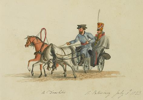 School Russian A Courier on a Journey to Astrakan & A Russian Soldier Riding in a Droschke