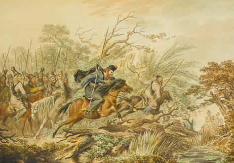 Johann Georg Paul Fischer Russian Uralsk & Don Cossacks on the Attack