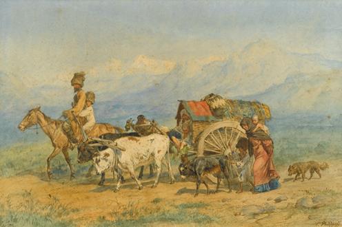 Konstantin Nikolaevich Filippov Travellers in a Caucasian Landscape