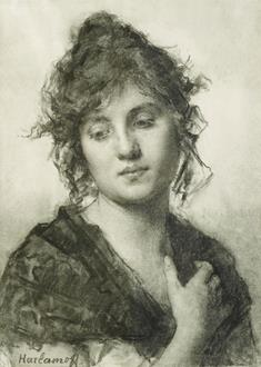 Alexei Alekseevich Harlamoff Portrait of a Young Woman