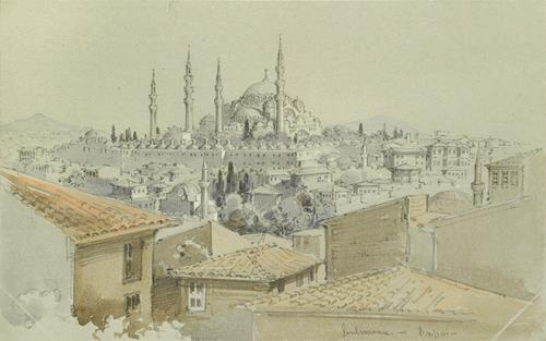 Count Amadeo Preziosi View of the Süleymaniye Mosque over Rooftops