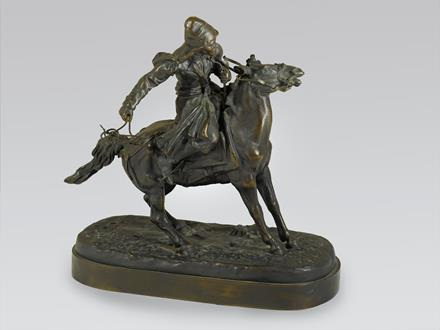 Yevgeny Alexandrovich  Lancerey  A Russian Equestrian Bronze of a Khirgiz Herdsman with Lasso