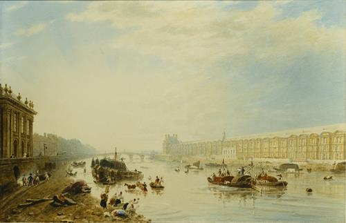 Frederick Nash The Seine, Looking Towards the Louvre and the Pont Royal