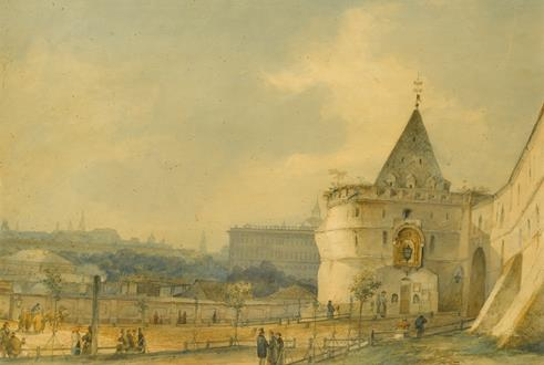 Sokrat Maksimovich  Vorobiev View of the Entrance to the Andronikov Monastery, Moscow
