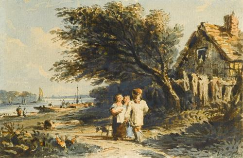 John Varley Figures on a path by the Thames