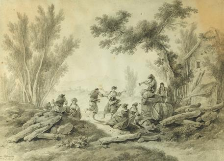 Jean-Baptiste Pillement Peasants Resting and Dancing to a Piper beside a Farm