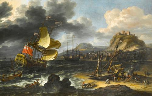 Lorenzo A. Castro An English Man-O'War Running into a Crowded Continental Port