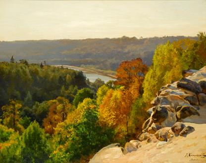Josef Evstafievich Krachkovsky Autumn by the River, Sigula, Latvia