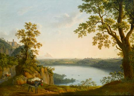 Jacob Philipp Hackert Lake Nemi from the North, with the Town of Nemi and the Town of Genzano beyond, with a Donkey and Travellers on a Path in the Foreground