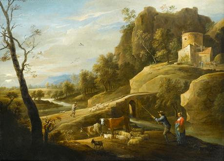 David Teniers II Landscape with a Drover and his Herd by a River