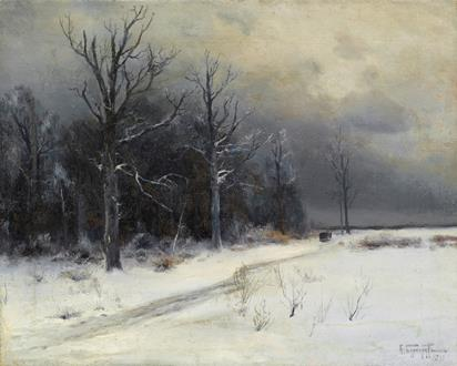 Feodor Karlovich Burhardt A Winter Landscape with a Troika on a Track