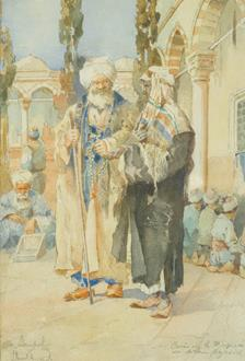 J Pavlikevitch Figures in the Courtyard of the Bayezid II Mosque