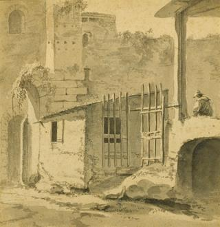 Thomas Wyck An Italian Courtyard with a Gateway and Seated Figure