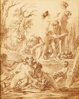 Jean-Baptist-Marie Pierre A Bacchanale: Naked Nymphs decorating a Herm