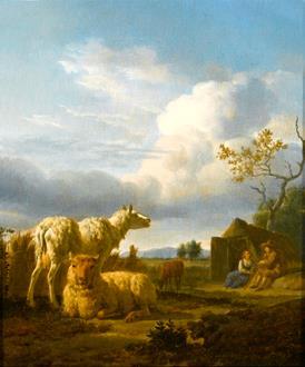 Adriaen van de Velde Pastoral Landscape with Sheep and Peasants
