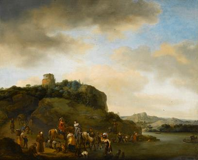Philips Wouwerman Landscape with a Hawking Party Stopped by a River