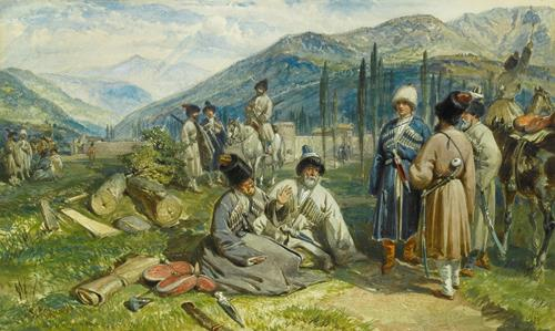 William Simpson Circassians at the Fort of Waia, 8th October 1855