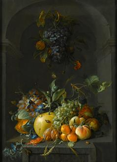Coenraet Roepel Still Life of Grapes, Melons, Peaches, Plums and other Fruit with Morning Glory and Shafts of Wheat  in a Stone Niche, with a Bunch of Grapes and Medlars Hanging Above