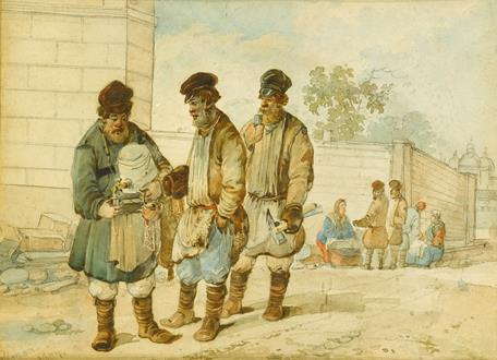 Karl Ivanovich Kollmann Navvies Lunching; The Kvas Vendor; A Couple Giving Alms to a Beggar