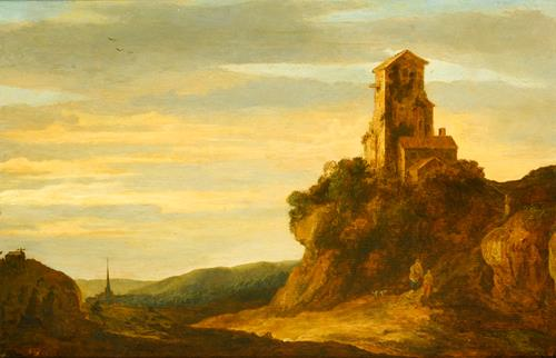 Pieter de Molijn A Hilly Landscape with Wanderers at the Foot of a Castle Ruin